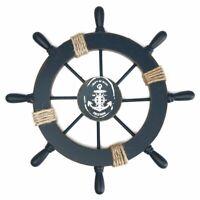 Wall Wooden Nautical Beach Boat Ship Steering Wheel Fishing Net Shell Decor US