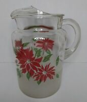 """RARE Vintage MCM Glass Pitcher with Ice Lip, Poinsettia Design/Frosted Bottom 9"""""""
