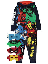 Marvel Avengers Boys Glow in The Dark Coral Fleece Pyjamas Hoodie All in One PJs