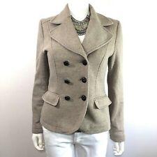 H&M • Cotton Blend Double Breasted Heather Tan Peacoat • Women's Size 10, Large