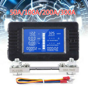 50-300A LCD Display DC Battery Monitor Meter 200V Voltmeter Amp For RV System