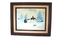 Native American on Horse Winter Snow Oil Painting Signed Marshall Carmichael CA