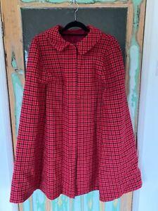 Woolen vintage pink check cape. Possibly handmade. Large 16-18