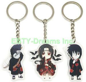 Set of 3 Naruto Anime Acrylic Keychain Akatsuki Uchiha Sasuke Itachi Kisame