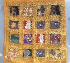 "Embroidery Lace Braid Throw Accent Pillow India Orange 16"" x16"" EUC"