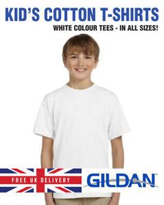 WHITE GILDAN Childrens 100% Cotton Softstyle Plain White T-Shirt Shirt Tee Top