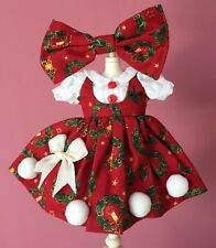 Blythe Pullip Doll Outfit Xmas Red Dress with Hair Clip SET