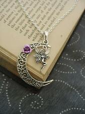 Fairy Moon Necklace Pagan Wicca Fantasy Silver Pendant Gothic Magic Rose Fae New