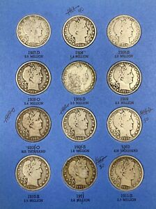 1904-1915 Barber Head Half Dollar Halves 90% Silver Coin Book Folder VG+ 30 COIN