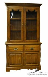 """COCHRANE FURNITURE Solid Oak Country French 42"""" Buffet w. Lighted China Cabin..."""