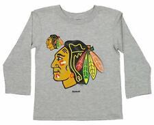 Reebok Nhl Kids Chicago Blackhawks Long Sleeve Tight Spirl Tee, Grey
