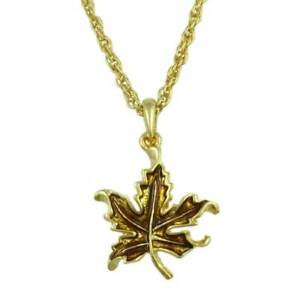 Gold-plated Chain with Gold Enamel Maple Leaf Pendant - PRL341N