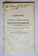 Rapport JACQUINOT PAMPELUNE Yonne Loi Modifier CODE PENAL 1824