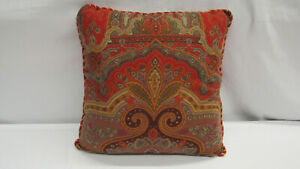 "$490 ETRO Italy ""Home Collection"" decorative pillow / wine red & orange paisley"