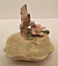Hummingbird Sipping Nectar Ring Dish Keys Coins White Bird Flower Collectibles