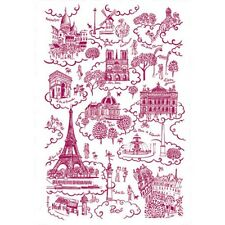 TORCHONS & BOUCHONS, PARIS TOILE DE JOUY ROUGE FRENCH PRINTED KITCHEN TOWEL, NEW