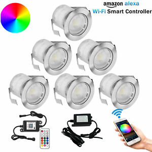 6pcs WIFI Controller RGB LED Decking Lights Terrace/Patio/Path/Wall/Garden Lamp