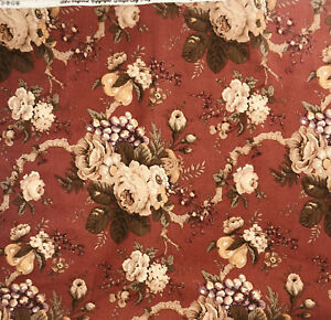 Raymond Waites Mill Creek Conservatory Fabric Rust Floral Roses Grape Pear 1 Yrd