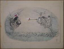 Dessin Ancien Aquarelle ROBERT GIGI Femme Proue de Bateaux Sirènes