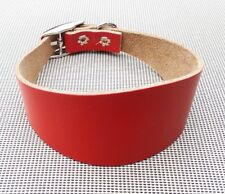 """TRADITIONAL SOFT RED LEATHER WHIPPET DOG COLLAR  ADJUST 12""""-13.5""""]~]]"""