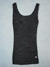 Sexy Black Sleeveless Chiffon TOP & G-STRING Transparent Tight Fitting Size S/M