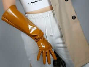 TECH LONG GLOVES Unisex Black Faux Leather 50cm L Quilted Winter PUFF SLEEVES