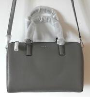 New DKNY Grained Leather Tote Bowling Bag Satchel Cross Body Handbag Grey