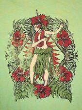 Hawaiian Luau Dancing Girl Cute Pinup Pin-up Daniel Cremieux T Shirt L