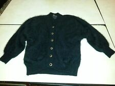 Black fully lined angora sweater huge batwing sleeves fuzzy fluffy furry