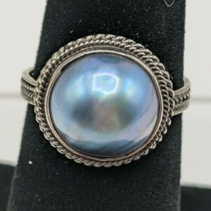 Blue Mabe Pearl Ring Size 7.5 925 Sterling Silver