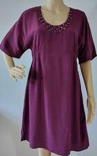 BODEN Burgundy Embellished Sz US 6 R Tunic Dress Viscose Short Sleeve