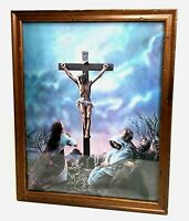 Vintage Golgotha Jesus On The Cross 3D Lenticular Print Wood Frame Religious Art