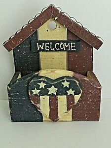 """Rustic Red White Blue Patriotic American Hanging Wooden Wall Organizer 7x7x3"""""""