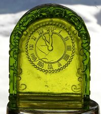 GREEN GLASS GRANDFATHER CLOCK CANDY CONTAINER WITH WESTMORELAND GLASS STICKER