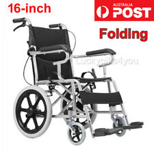 16 Inch Folding Wheelchair Lightweight Mobility Aid Park Brakes Solid Wheel AUS
