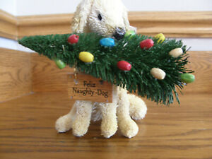 Pottery Barn Bottlebrush White Dog Christmas Ornament-Feliz Naughty Dog/Pupp-New