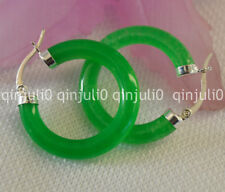 BEAUTIFUL! GREEN REAL NATURAL GREEN JADE CLICK HOOP EARRING SILVER HOOK JE99
