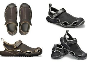 Men's CROCS Swiftwater Mesh Deck Water sandal shoes Black Brown