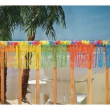 Tropical Fringed Banner W/ Hawaiian Flower Topper Luau Themed Party Fun Bright