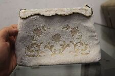 Vintage White Purse Floral Rose by E Grillot Paris hand made in France