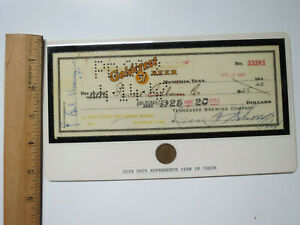 Coin Display Lincoln Cent 1947 Goldcrest Beer Check Tennessee Brewing Co.