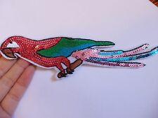 sequin patches parrot patch applique iron on sew on motif badge sewing craft