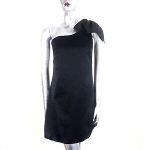 Black One Shoulder Mini Dress Bow Bubble Hem Satin Spotlight Warehouse UK 10