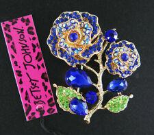 Betsey Johnson Blue Rhinestone Yellow Enamel Flower Charm Women Brooch Pin