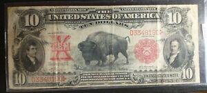 $10 1901 Legal Tender RARE BISON Fr. 117 Vernon- McClung sigs Lews + Clark VF