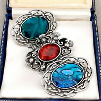 3 Vintage Style Celtic Scottish Thistle Pewter Brooches - Red Blue Green Abalone