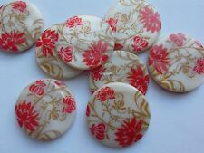 8 Flat Round Shell Beads, Red Floral, 25 mm. Jewellery Making/Crafts/Sew/Bead