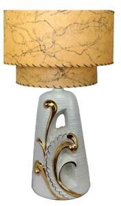 1950s Mid Century Modern Atomic Hollywood Regency White Gold Swirl Ceramic Lamp