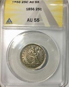 1856  P  Quarter Dollar 25 Cents Sharp Devices Nice AU55 Pretty Colour ANACS