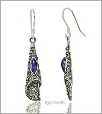 Thai Sterling Silver Trumpet Drop Dangle Earrings with CZ / Marcasite #53125